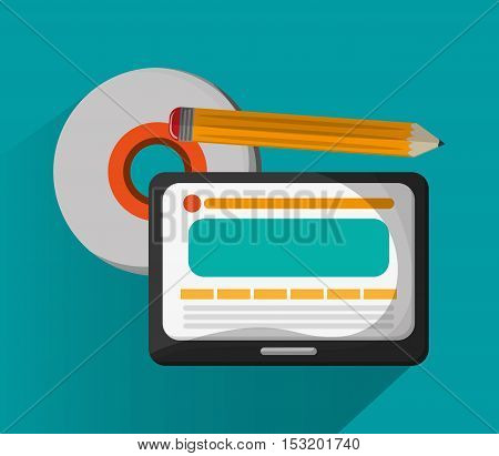 Tablet cd and pencil icon. Social media marketing and communication theme. Colorful design. Vector illustration
