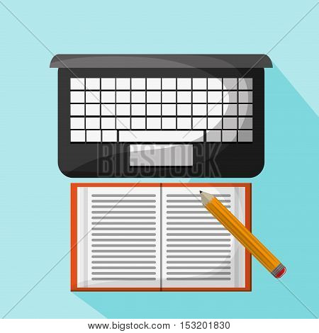 Laptop book and pencil icon. Social media marketing and communication theme. Colorful design. Vector illustration