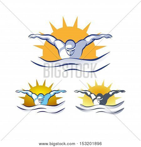 Modern Vector Abstract Swimming Logo. Pool logo set. Swimming through waves concept design. Swim at sunrise, vintage colors.