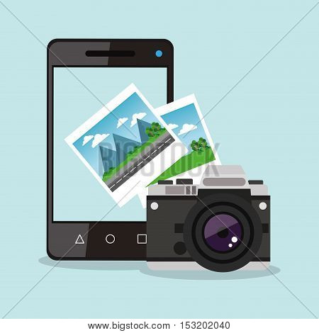 Smartphone camera and picture icon. Social media marketing and communication theme. Colorful design. Vector illustration