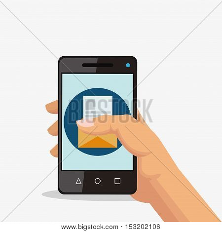 Smartphone and envelope icon. Social media marketing and communication theme. Colorful design. Vector illustration