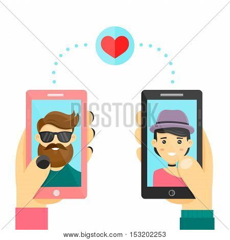 Online dating love app concept. Men and women use smarphone to develop relations and date. Vector modern flat cartoon character illustration. Isolated on white background