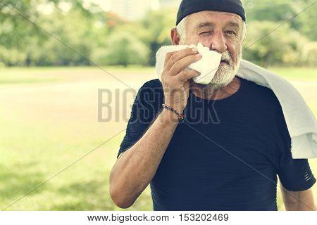 Senior Man Exercise Park Outdoors Concept