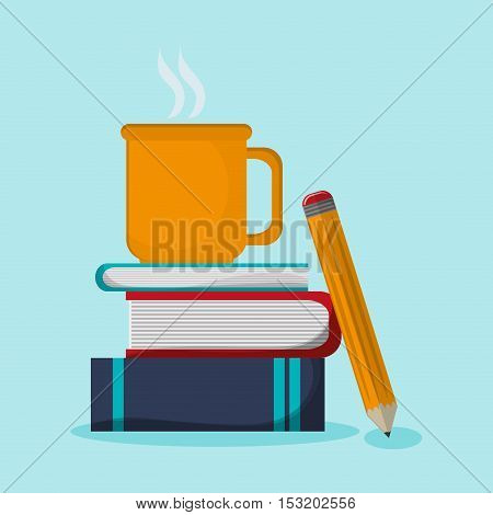 Books mug and pencil icon. Education literature read and library theme. Colorful design. Vector illustration