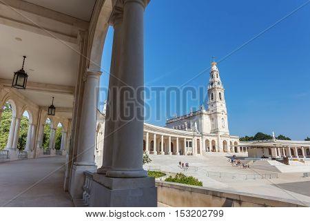 Details Fatima parish church. The columns and the corridor.