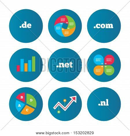 Business pie chart. Growth curve. Presentation buttons. Top-level internet domain icons. De, Com, Net and Nl symbols. Unique national DNS names. Data analysis. Vector