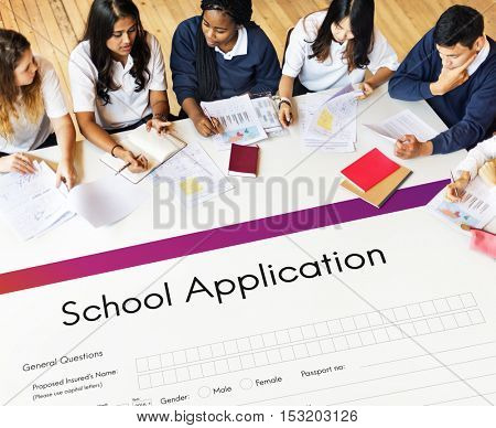 School Application Document Registration Form Concept