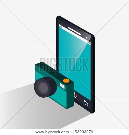 Smartphone and camera icon. Social media marketing and communication theme. Colorful design. Vector illustration