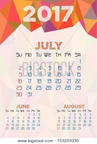 Abstract polygonal background with triangular ornament in orange and dates of summer month July 2017. Week starts from Sunday. Vector illustration