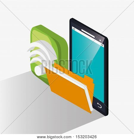 Smartphone and file icon. Social media marketing and communication theme. Colorful design. Vector illustration