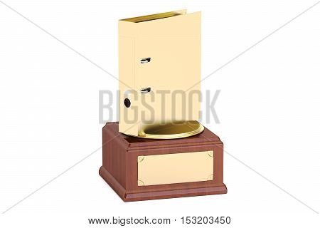 Golden Folder Award concept 3D rendering on white background
