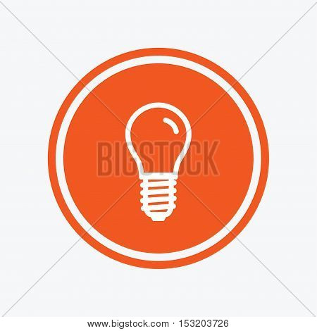 Light bulb icon. Lamp E14 screw socket symbol. Led light sign. Graphic design element. Flat e14 lamp symbol on the round button. Vector