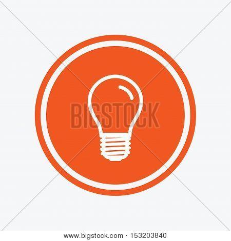 Light bulb icon. Lamp E27 screw socket symbol. Led light sign. Graphic design element. Flat e27 lamp symbol on the round button. Vector