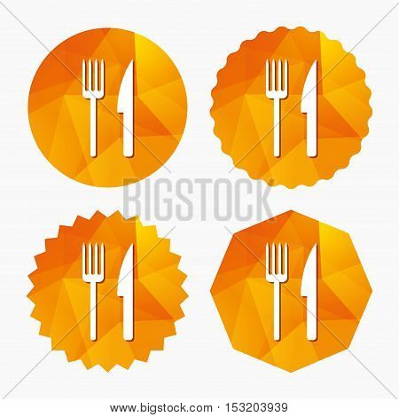 Eat sign icon. Cutlery symbol. Fork and knife. Triangular low poly buttons with flat icon. Vector