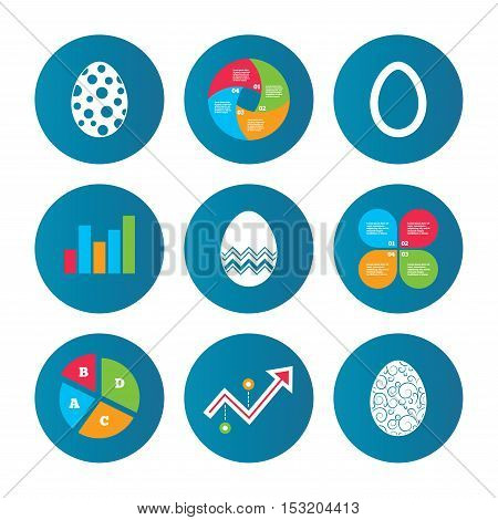 Business pie chart. Growth curve. Presentation buttons. Easter eggs icons. Circles and floral patterns symbols. Tradition Pasch signs. Data analysis. Vector