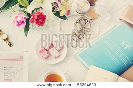 Woman Shopping Online Tablet Connection Tea Concept