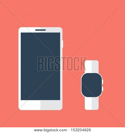 Smart phone with smart watch. Template vector illustration.