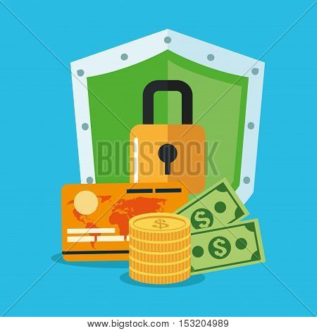 Padlock and money inside shield icon. Security system cyber warning and protection theme. Colorful design. Vector illustration