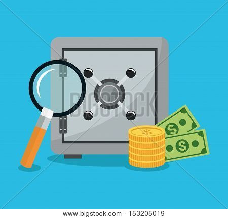 Strongbox lupe and money icon. Security system cyber warning and protection theme. Colorful design. Vector illustration