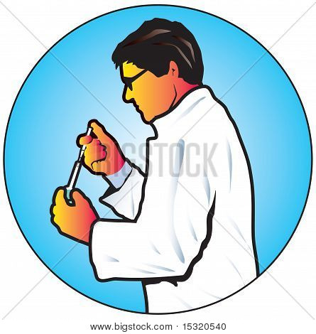 Chemist or laboratory technician with test tube