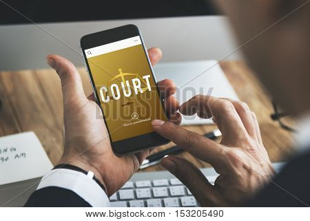 Justice law icon court concept