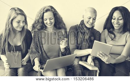 Girls Friendship Togetherness Online Shopping Concept