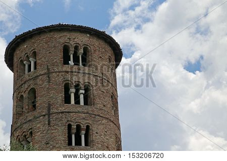 Bell Tower Of Saint Apollinare In Classe Near The City Of Ravenn