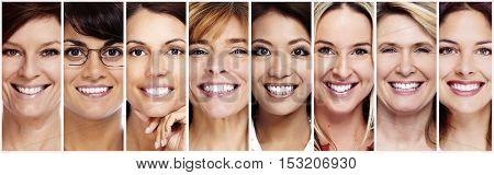Beautiful smiling woman face.