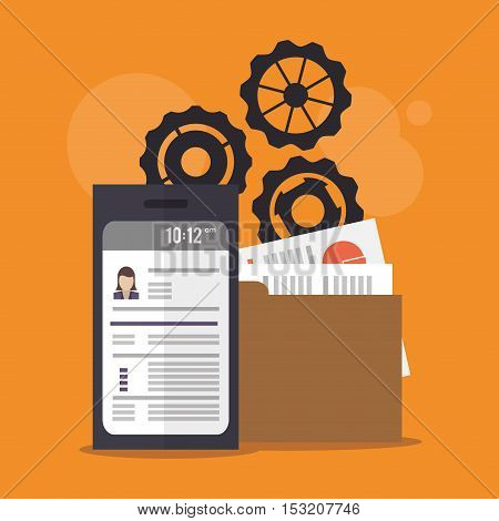 Document gears and smartphone icon. Human resources search employee and business theme. Colorful design. Vector illustration