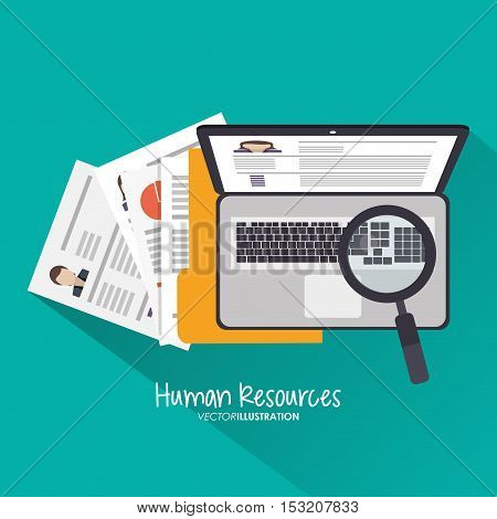Document lupe and laptop icon. Human resources search employee and business theme. Colorful design. Vector illustration