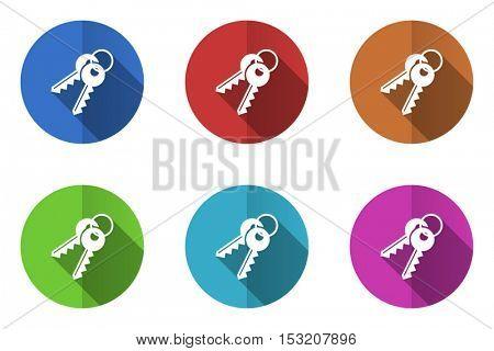 Keys flat design vector icons