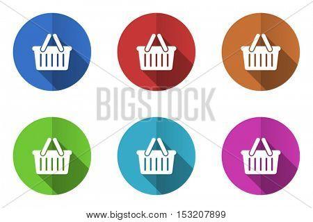 Shopping basket flat design vector icons
