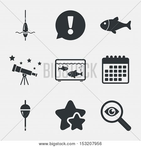 Fishing icons. Fish with fishermen hook sign. Float bobber symbol. Aquarium icon. Attention, investigate and stars icons. Telescope and calendar signs. Vector
