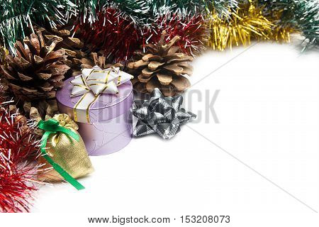 Christmas decorations and gifts on a white background