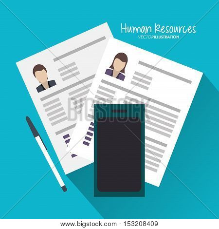 Document and smartphone icon. Human resources search employee and business theme. Colorful design. Vector illustration