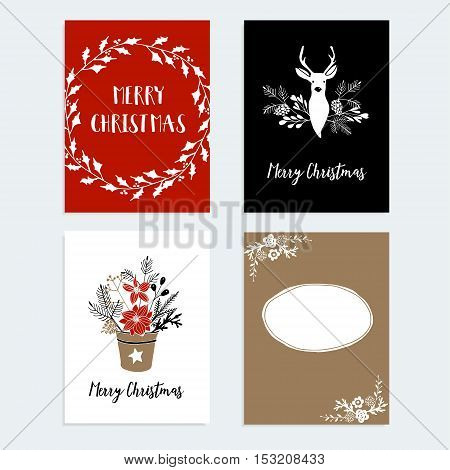 Set of Christmas New Year greeting journaling cards invitations. Hand drawn illustration of reindeer holly wreath poinsettia pine spruce tree branches floral decorations. Vector backgrounds.