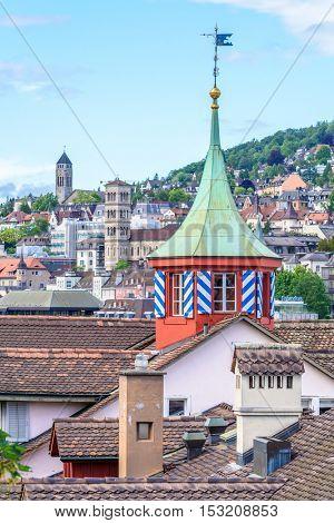 View of historic Zurich city center  on a summer day, Canton of Zurich, Switzerland.