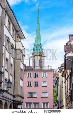 View of historic Zurich city center  on a summer day, Canton of Zurich, Switzerland.