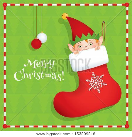 Vector cartoon illustration of an elf hiding in a red Christmas stocking. Green background, square format, greeting