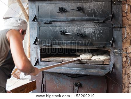 artisan bakery with wood oven and handmade dough