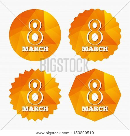 8 March Women's Day sign icon. Holiday symbol. Triangular low poly buttons with flat icon. Vector