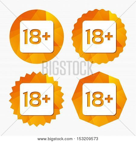 18 years old sign. Adults content only icon. Triangular low poly buttons with flat icon. Vector