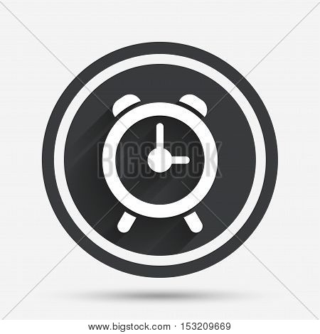Alarm clock sign icon. Wake up alarm symbol. Circle flat button with shadow and border. Vector