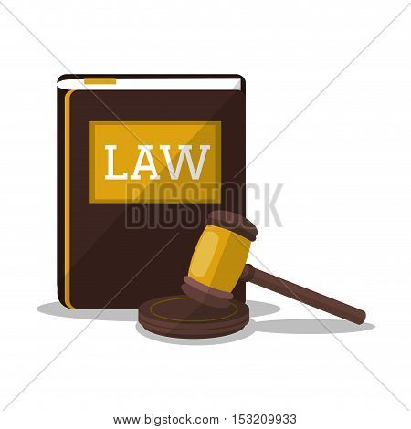 Book and hammer icon. Law justice legal and judgment theme. Colorful design. Vector illustration