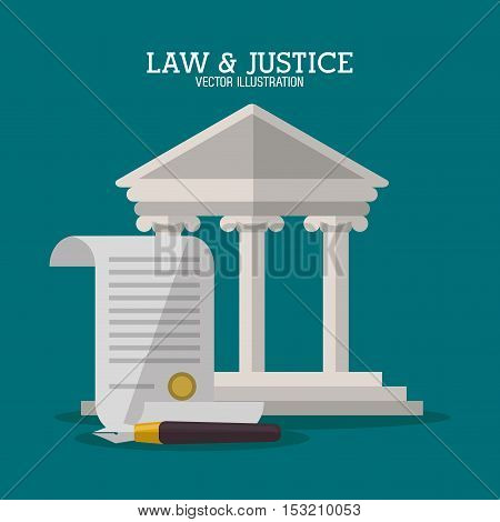 Building and document icon. Law justice legal and judgment theme. Colorful design. Vector illustration