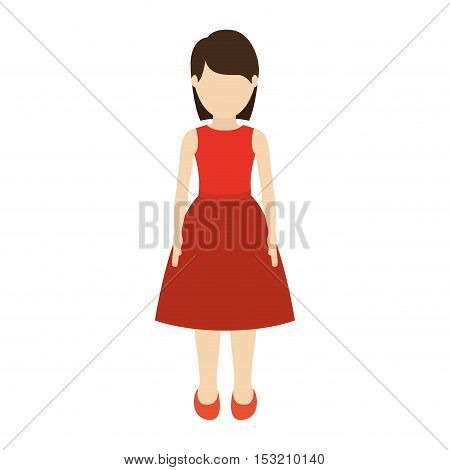 avatar girl cartoon standing and wearing dress over white background. vector illustration