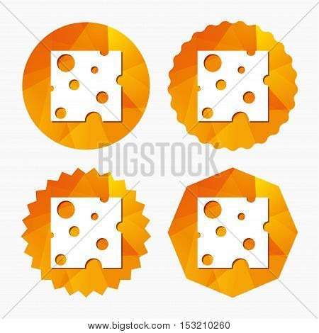 Cheese sign icon. Slice of cheese symbol. Square cheese with holes. Triangular low poly buttons with flat icon. Vector