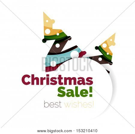 Christmas and New Year geometric banner with text. Vector illustration
