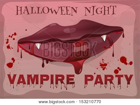Halloween night party. Red feminine lips in blood. Vampire party. Vampire lips. Bloody Halloween. Vector vintage illustration