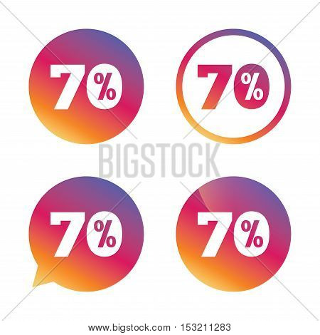 70 percent discount sign icon. Sale symbol. Special offer label. Gradient buttons with flat icon. Speech bubble sign. Vector